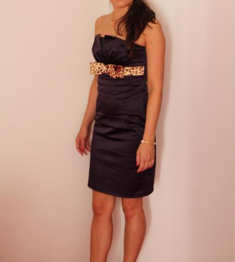Fialové korzetové šaty s mašľou 34 - 36 ( XS -S) , 34