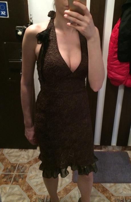 Šaty hnedé so zlatým S/M, 36