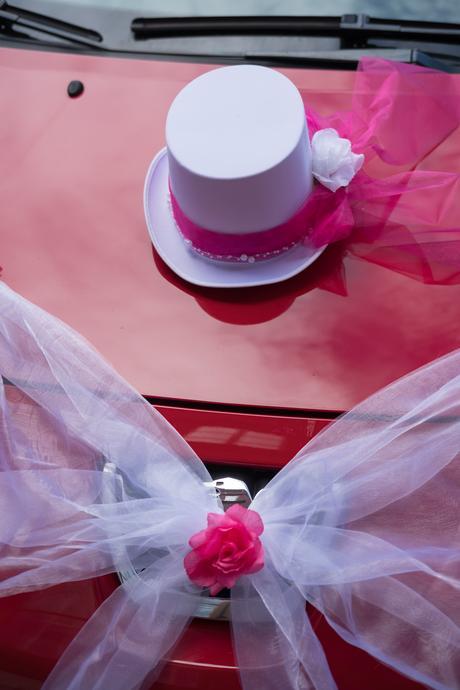 Výzdoba na auta růžovo-bílá,