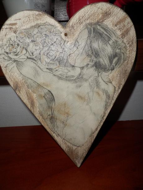 drevené srdce na stenu,