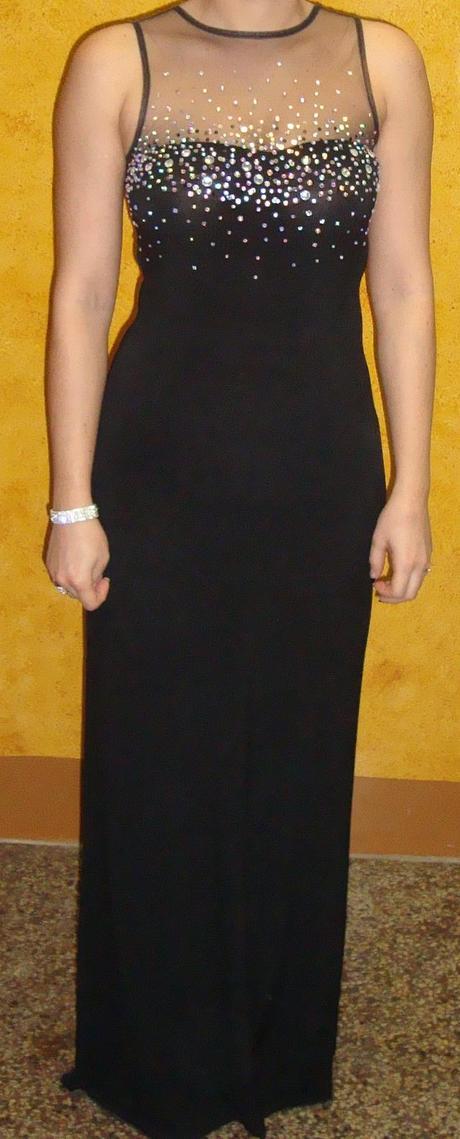 Čierne šaty s kamienkami, 36