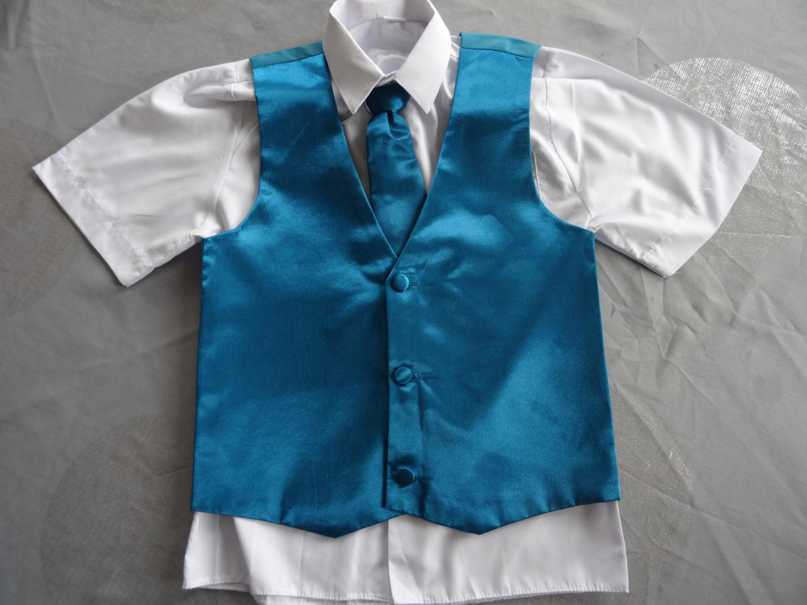 Tyrkysová chlapecká vesta vč. kravaty+košile bílá 64ca326020