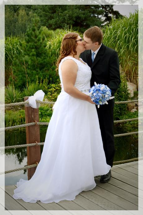 Bílé svatební šaty vel. 46-50, přidám spodničku, 46