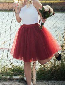 Dámská sytě červená tutu sukně, M