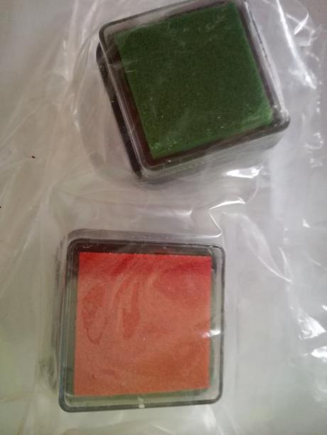 Razítkovací polštářek (červený a zelený),