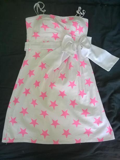 Společenské bílé šaty,růžové hvězdy, 152