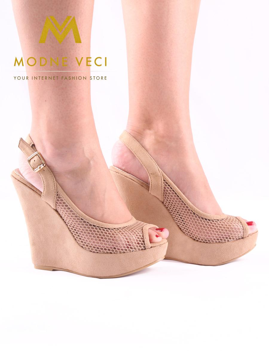 7dc98b322561 Sieťované sandále na klinovom opätku 35-40