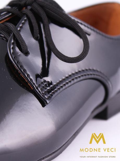 chlapčenske spoločenské čierne kožené topánky 21, 40
