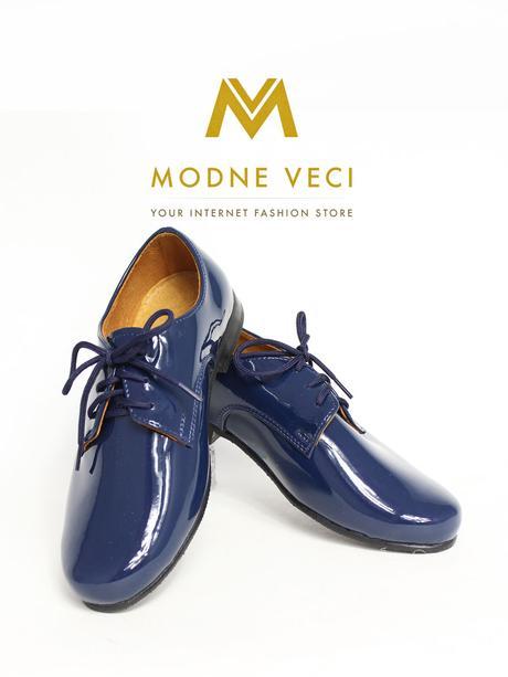 chlapčenske spoločenské modré kožené topánky 21, 40