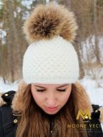 Dámska čiapka smotanovo-biela UNI, XL