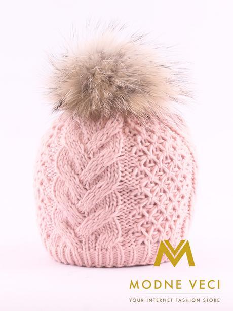 Dámska pletená čiapka s bambuľou z pravej kožušiny, M