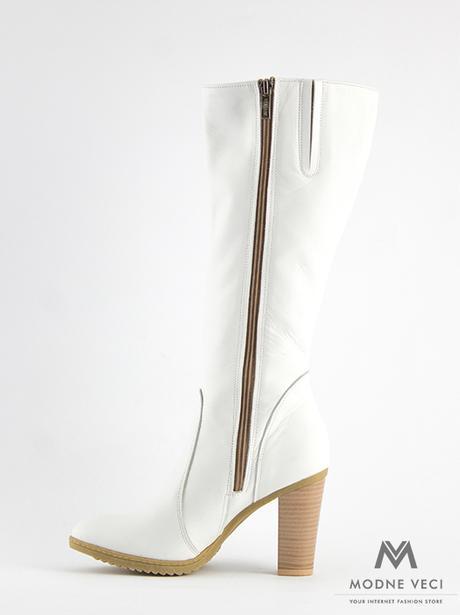 53a50bd25278 Elegantné kožené čižmy model 08 v bielej farbe 36
