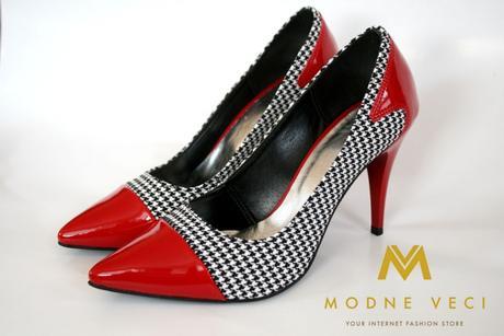 luxusne dámske lodičky červeno-karované, 38