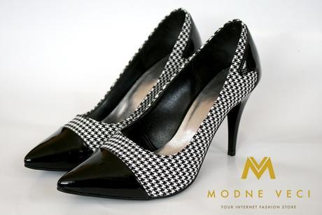 luxusne dámske lodičky čierno-karované, 38