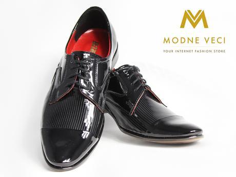 Pánske spoločenské kožené topánky - lakovky model , 43