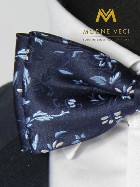 Pánsky kvetinový motýlik tmavo-modrý 08,