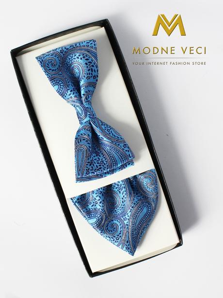 Svetlo-modrý pánsky motýlik s vreckovkou do saka18,