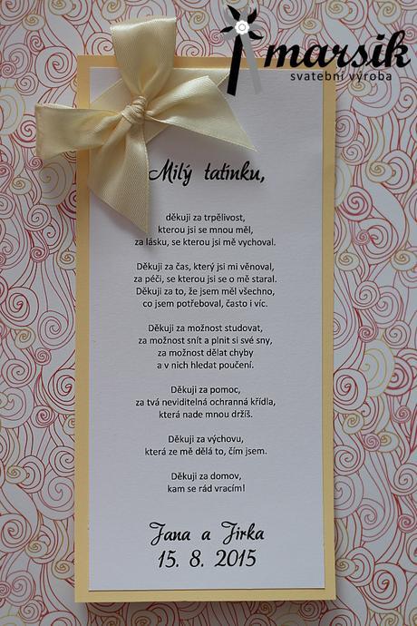 Poděkování rodičům, svědkům ,