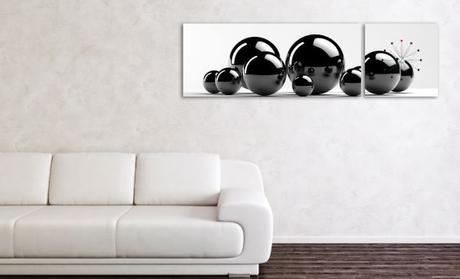 2-dielny obraz s hodinami, čierne guličky, 158x46c,
