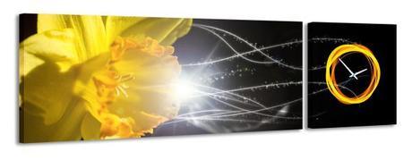 2-dielny obraz s hodinami, Narcis, 158x46cm,