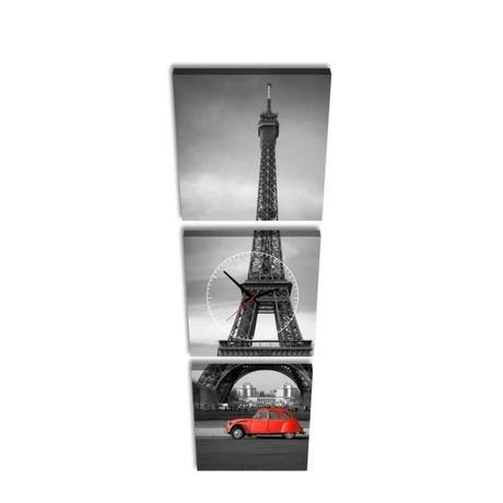 2-dielny obraz s hodinami, Paris, 158x46cm,
