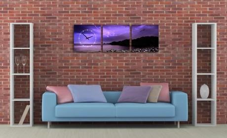3 dielne obrazové hodiny Búrka, 35x105cm,