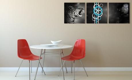 3 dielne obrazové hodiny Divočina, 35x105cm,