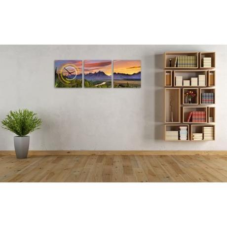 3 dielne obrazové hodiny Hory, 35x105cm,