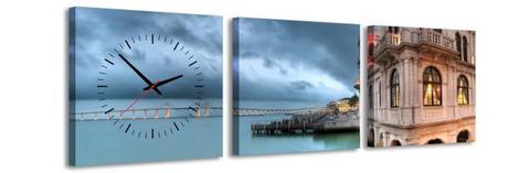 3 dielne obrazové hodiny Pobrežie, 35x105cm,