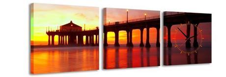 3 dielne obrazové hodiny Sunset, 35x105cm,