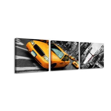 3 dielne obrazové hodiny Taxi, 35x105cm,