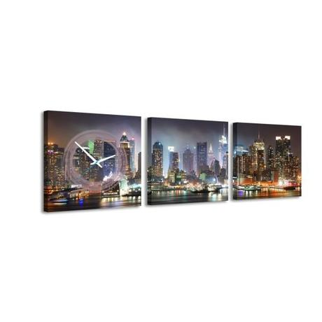 3 dielne obrazové hodiny Time Square, 35x105cm,