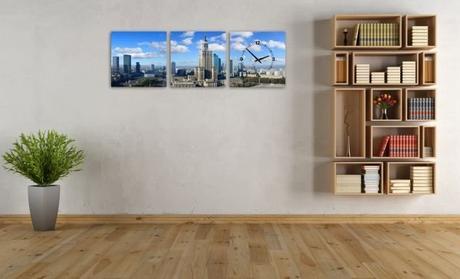 3 dielne obrazové hodiny Varšava, 35x105cm,