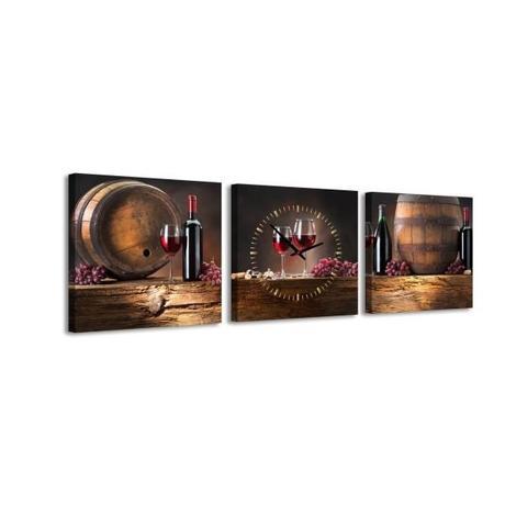 3 dielne obrazové hodiny Víno, 35x105cm,