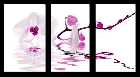 3-dielny obraz na plátne 3x25x40cm Orchidea ružovo,