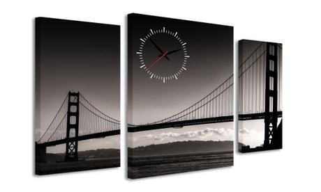 3-dielný obraz s hodinami, BRIDGE, 95x60cm,