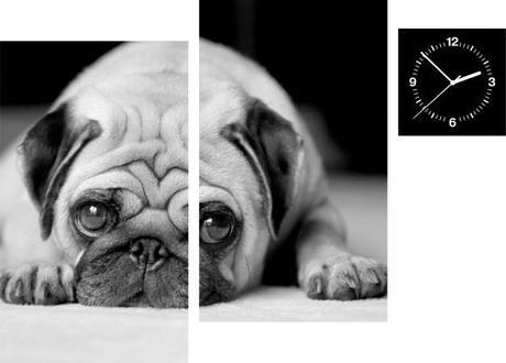 3-dielny obraz s hodinami, Irregular Pes, 90x60cm,