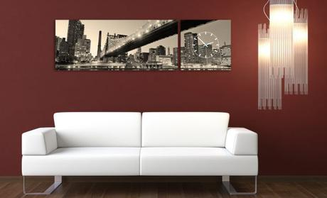 3-dielny obraz s hodinami, Panorama, sepia, 158x46,