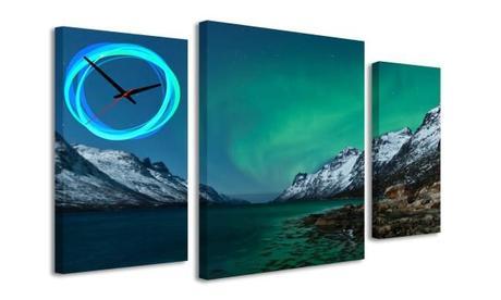 3-dielný obraz s hodinami, Polárna noc, 95x60cm,