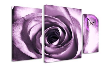 3-dielný obraz s hodinami, Ruža, 95x60cm,