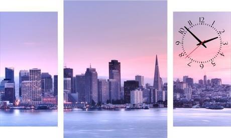 3-dielný obraz s hodinami, San Francisco, 95x60cm,