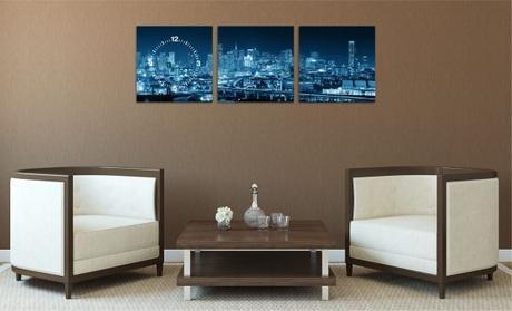 3-dielny obraz s hodinami, SAN FRANCISCO Panorama,,