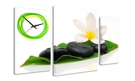 3-dielný obraz s hodinami, Spa Stones, 95x60cm,