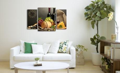 3-dielný obraz s hodinami, Víno, 95x60cm,