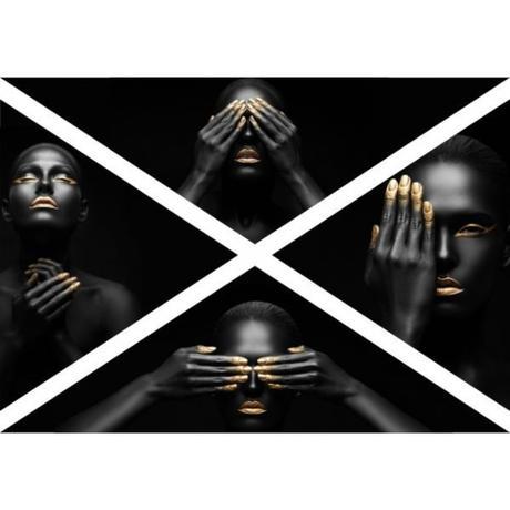 4 - Obraz na plátne TRIANGLE, Black Gold, 140x95cm,