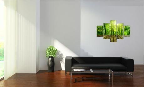 5-dielov, Hodiny ako obraz, Bamboo, 100x70cm,