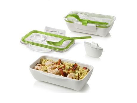 Bento Box na jedlo malý bielozelený,