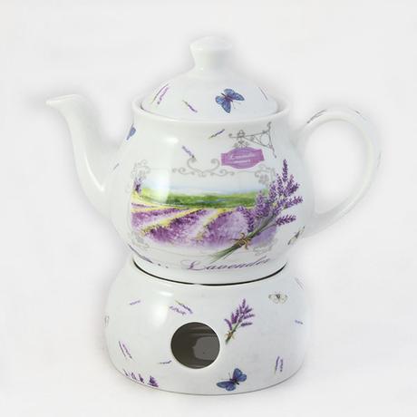 Čajník s ohrievačom, motív levandula 2, 500ml,