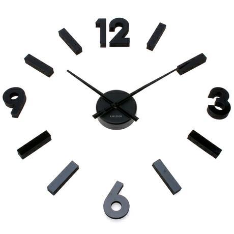 Čierne nalepovacie hodiny DIY Cubic,