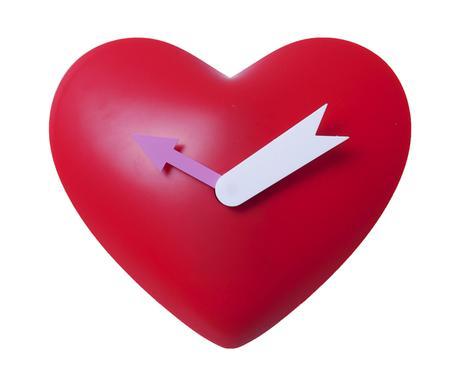 Detské kyvadlové nástenné hodiny Srdce, červené,,